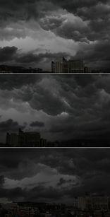 ...中午,网友实拍天空.(图片来源:新浪微博)-广东五一降雨难熄游...