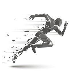 急速跑步的人物动作设计矢量素材
