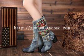 ...尚百搭牛仔布粗高跟鞋 高档保暖中筒棉靴女短裸靴子