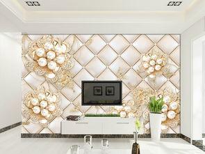 欧式时尚宫廷珠宝花3d软包背景墙