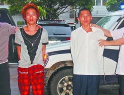 掳掠小江和其学姐的两名嫌疑人.-女中学生遭强掳续 少女扮乖巧麻痹...
