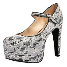 高档女鞋 防水台蕾丝高跟鞋 欧美扣带高跟鞋