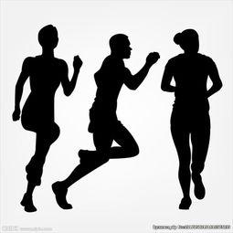 呆歪三人组大冒险-三个跑步运动员剪影轮廓图片
