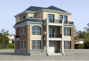 ...农村三层带露台房屋设计图,8X11米90平方米20万以内,编号 J205