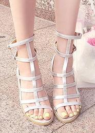 ...款欧美罗马风格高级定制镂空粗跟鞋高跟鞋凉鞋-高级面料