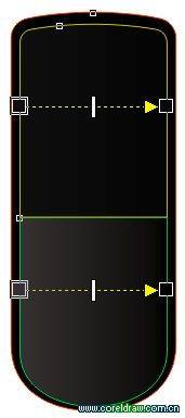...可利用[交互式轮廓图]工具实现.-cdr绘制nokia 8800手机