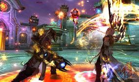 墨影劲敌拼杀,高科技特效将游戏中焚香和太昊的神奇招式展现在舞台...