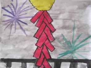 看烟花炮竹喽简笔画 看烟花炮竹喽图片欣赏 看烟花炮竹喽儿童画画作品