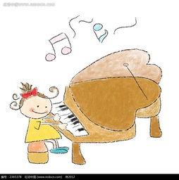 弹钢琴背影简笔画