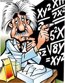 卡通 教授 图片 思考数学 问题 漫画 素材 卡通 漫
