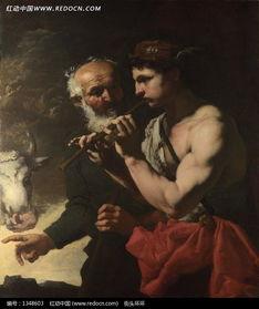 吹笛子的男人和白胡子的老人油画