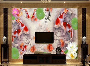 客厅电视沙发背景墙瓷砖背景墙咏荷鱼趣