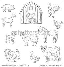 农场动物简笔画-Farm animals