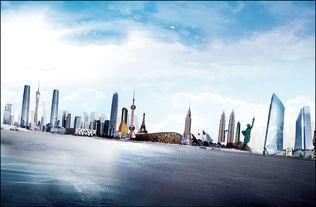 世界著名建筑繁华都市高楼大厦时尚背景