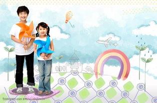 拿着纸风车的可爱女孩和男孩 儿童绘画