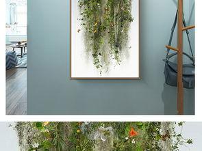 ...意绿色植物花草花藤风景装饰画