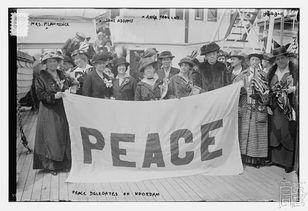 ...(左四)和女性和平主义者们-简 亚当斯 妇女的责任是建立另一种生...