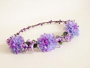 诺笙花-语诺妈 森女系 紫色花朵 花环 礼服
