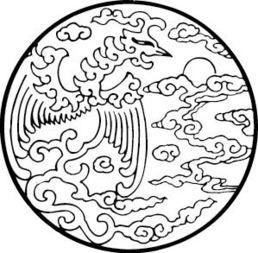 圆素描-圆形白描凤凰花纹AI素材免费下载 编号5200652 红动网