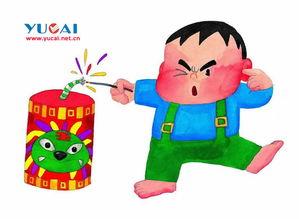 ...儿童画作品欣赏,幼儿学画画,卡通画,水?-放鞭炮的孩子 欢度春节...