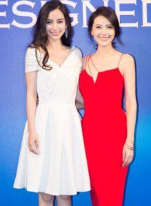 Baby高圆圆争艳 Angelababy穿白裙高圆圆穿吊带红裙