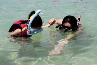 滩很近的   水里   就有好多鱼,不怕游人,如果把面包装在矿泉水瓶子...