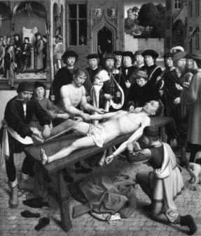第三张油画比较惊悚,这张十五世纪的画描绘的是一名贪官接受活生...