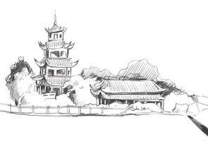 速写塔楼的画法步骤 2