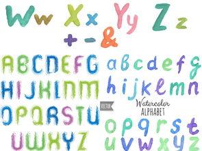 ...通儿童水彩手绘26个英文字母大小写彩色插图EPS矢量设计素材