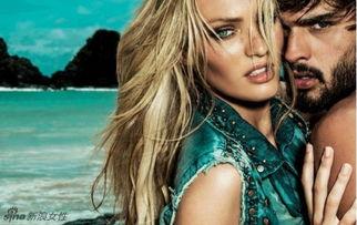 ...超模坎蒂丝海边拍广告 和男模缠绵尽显性感