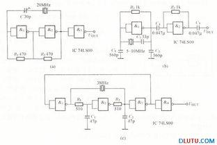 并使门电路工作在线性区.该电路... 是一个套环式振荡电路,前三级与...