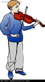 拉小提琴的男子卡通手绘AI素材免费下载 红动网