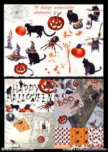 水彩卡通万圣节猫女巫帽南瓜插画图片