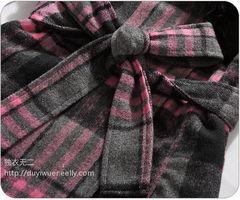 日韩英伦格子奢华毛领羊毛呢大衣 可拆毛领