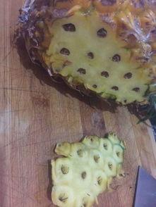 2. 从菠萝颜色比较偏绿色的一面切一小块不要太厚,为了让菠萝立的更...