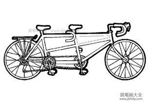 双人自行车简笔画图片