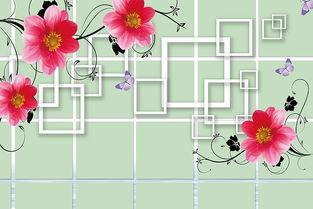 ...约优雅3D红色花藤花卉背景墙