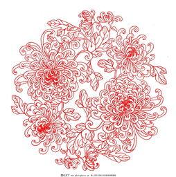 工笔菊花花纹剪纸-工笔菊花花纹