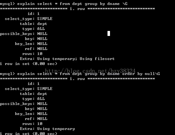 ...der by null 就可以防止排序.-数据库调优教程 十二 优化sql语句