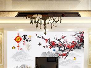 现代中式花鸟山水画客厅电视背景墙家和富贵