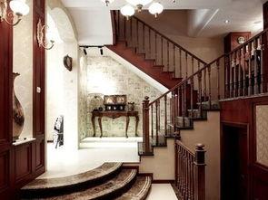 美式别墅楼梯设计效果图片-2017全国美式别墅设计 房天下装修效果图
