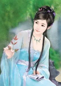 古装女子唯美蓝色图片