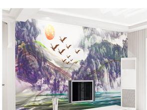 现代简约浮雕新中式抽象意境水墨山水画客厅电视背景墙