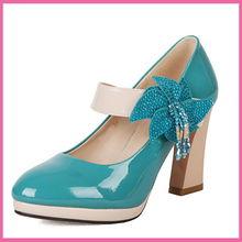 达芙妮正品单鞋 新款单鞋 漆皮串珠水钻花朵单鞋超高跟防水台女鞋