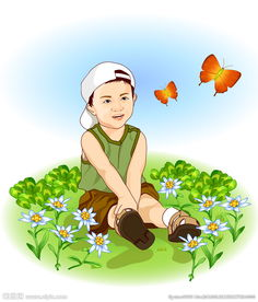 ...地上的矢量卡通小男孩图片