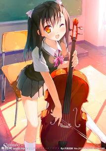 拉小提琴动漫女孩-拉提琴的少女图片