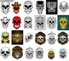 图片素材描述: 骷髅矢量素材 骷髅纹身图案 骷髅头图案 头骨矢量图 ...