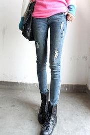 显瘦破洞小脚牛仔裤