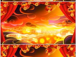 中国风祥云红绸戏曲舞台LED背景视频