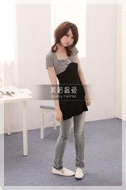 美眉最爱 日系杂志推荐时尚风情横条水钻修身长版T恤 T118